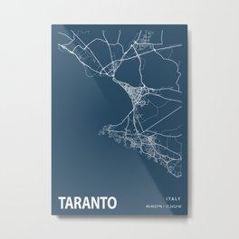 Taranto Blueprint Street Map, Taranto Colour Map Prints Metal Print