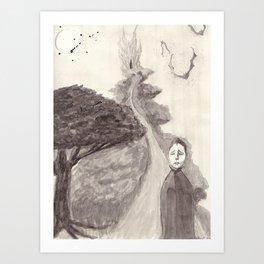 Waiting After Nightfall Art Print