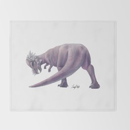 Purple Pachycephalosaurus Throw Blanket