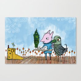 with concern for an old friend - a long overdue visit Canvas Print
