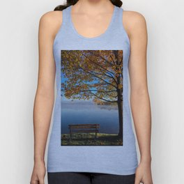 Autumn bench by the lake Unisex Tank Top