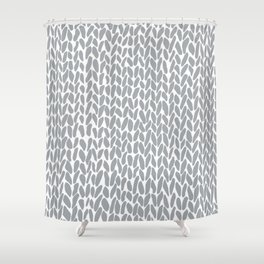 Hand Knit Zoom Grey Shower Curtain