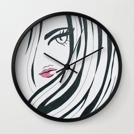 Girl Power Black and White Wall Clock