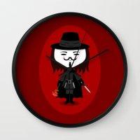vendetta Wall Clocks featuring Vendetta by Sombras Blancas Art & Design