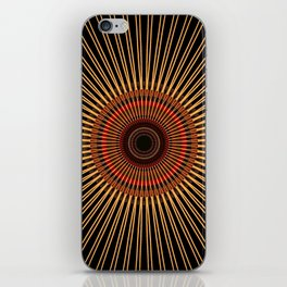 RAYS - gold earth-tone lines on black mandala iPhone Skin