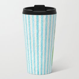 Gold and blue pineapple over blue strips Travel Mug