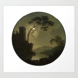 Joseph Wright of Derby - Lake with Castle on a Hill Art Print