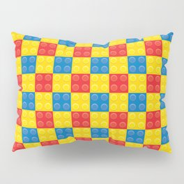 Colorful Legos Blocks in Red, Yellow and Blue Repeating Pattern Pillow Sham