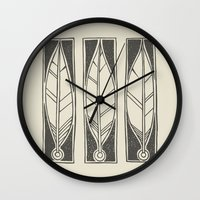 ethnic Wall Clocks featuring Ethnic Feathers by rob art | simple
