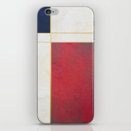 Blue, Red And White With Golden Lines Abstract Painting iPhone Skin