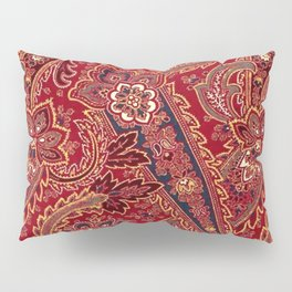 Red, Black and White Vintage Paisley Floral Pillow Sham