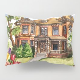 Victorian Mansion in the Spring Pillow Sham