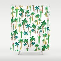 palm Shower Curtains featuring palm by Ceren Aksu Dikenci