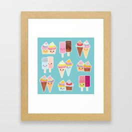 Kawaii cupcakes, ice cream in waffle cones, ice lolly Framed Art Print