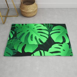 Tropical Palm Leaf Pattern in Elegant Jungle Green Rug