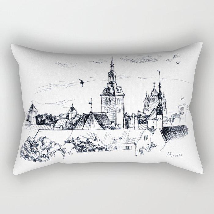 Medieval landscape. Rectangular Pillow