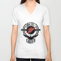 peggy carter V-neck T-shirts featuring Agent Carter by emptystarships