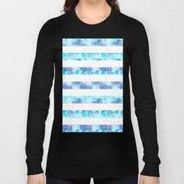Blue & Purple Watercolor Stripes Long Sleeve T-shirt