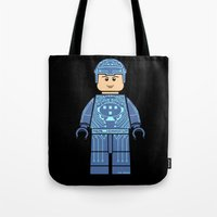 tron Tote Bags featuring Tron Lego by Ant Atomic