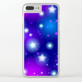Milky Way Abstract pattern with neon stars on blue background Clear iPhone Case