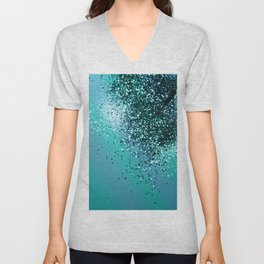 Aqua Blue OCEAN Glitter #1 #shiny #decor #art #society6 Unisex V-Neck