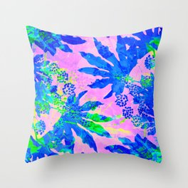 Tropical Adventure - Neon Blue, Pink and Green #tropical #homedecor Throw Pillow