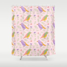 Birds and Flowers Gouache Pattern | Pastel birds and Flowers Shower Curtain