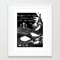 religion Framed Art Prints featuring Religion? by AMarloweCanPrint