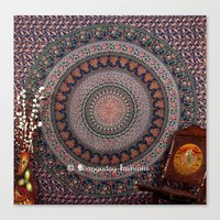 bedding Canvas Prints featuring Amazing Designer Blue Bohemian Mandala Tapestry Bedding by Ved India