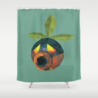 majoras mask Shower Curtains featuring Majoras Mask Deku Scrub by lowpolyfish