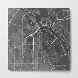 Shreveport Map, USA - Gray Metal Print