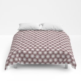 White Polka Dots and Circles Pattern on Pantone Red Pear Comforters
