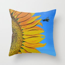 Sunflower & Bee Throw Pillow