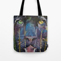 panther Tote Bags featuring Panther by Michael Creese