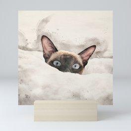 Waffles the snow cat Mini Art Print