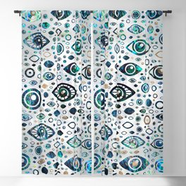 Greek Evil Eye pattern Abalone shell and gold 1 Blackout Curtain