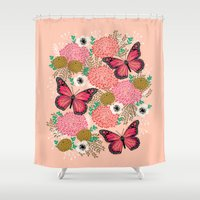 vegetarian Shower Curtains featuring Monarch Florals by Andrea Lauren  by Andrea Lauren Design