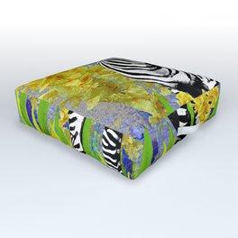 ZEBRA YELLOW ORCHIDS TROPICAL BLOOM Outdoor Floor Cushion