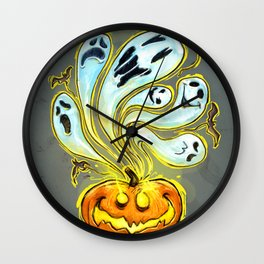 Pumpkins, ghosts and some bat Wall Clock