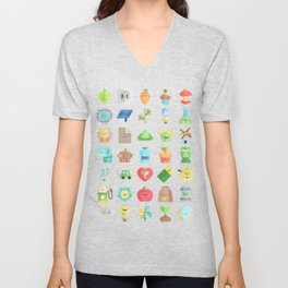 CUTE GREEN / ECO / RECYCLE PATTERN Unisex V-Neck