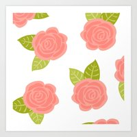 roses Art Prints featuring Roses by Paint Me Pink