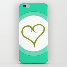 Green Heart with Love iPhone Skin