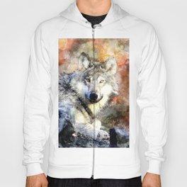 Wolf Animal Wild Nature-watercolor Illustration Hoody