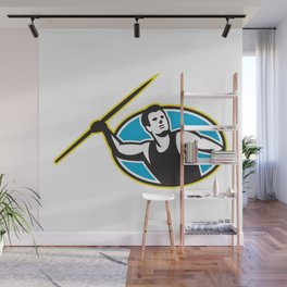 Javelin Throw Track and Field Athlete Wall Mural