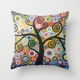 Abstract Art Landscape Original Painting ... She Dreams In Color Throw Pillow