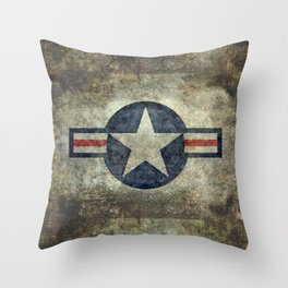 USAF vintage retro style roundel Throw Pillow
