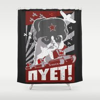 soviet Shower Curtains featuring grumpy soviet by tshirtsz