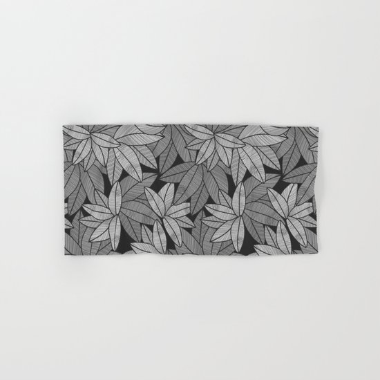 Black & White Leaves By Everett Co Hand & Bath Towel