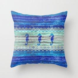 Rustic Navy Blue Coastal Decor Seahorses Throw Pillow