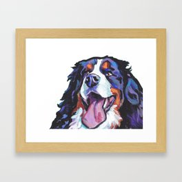 Berner Bernese Mountain Dog Portrait Pop Art painting by Lea Framed Art Print